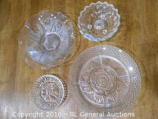 Vintage Glass Lot - Divided Tray, Footed Bowl, Fruit Bowl, Flower Bowl w/ Ruffled Edge