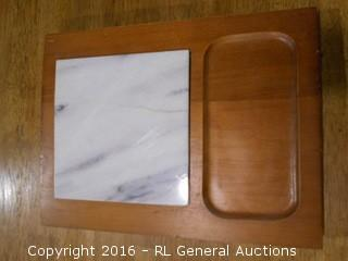 """Vintage Cheese / Snack Tray w/ Marble Insert  11.5"""" L X 8.5"""" W"""