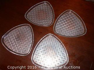 4 Vintage Unique Pressed Glass Desert Plates