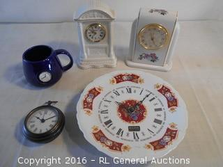 Clock Lot - Mantle Clocks, Wall Clocks - Belleek, Bulova Limoges, 1996 PS Limited