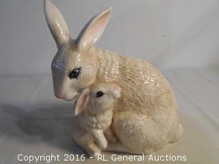"Decorative Large Ceramic Rabbits 10"" T X 9"" W"