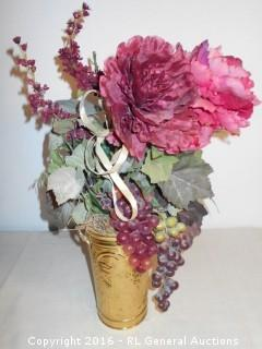 "Flower & Grape Decor in Brass Holder 20"" Tall"