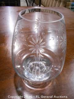 """Etched Glass Vase w/ Unique Design 7"""" Dia X 9.5"""" T"""