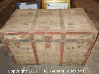 "Large Antique HM Trunk Made in California 34"" W X 19"" D X 21"" T"