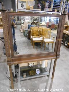 "Antique Beveled Swing Mirror Hand Carved w/ Dresser Braces (Removable) 42.5"" W X 39.5"" T (65"" T w/ Braces)"