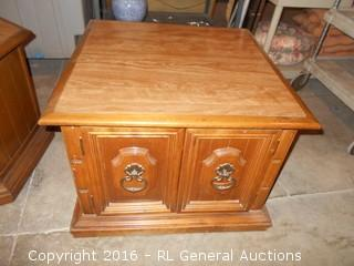 "Side Table / End Table w/ Lower Cabinet  26"" Square X 19"" T"