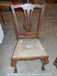 Antique Ball & Claw Foot Chair - Needs Restoration