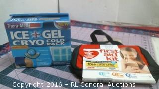Ice + Gel Cold Pack and First aid kit