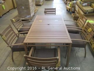 Outdoor Table and 6 Chairs/ loose bolts