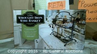 Wrought Iron Wire Basket Factory Sealed