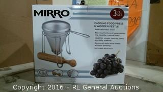 Mirro Canning Food Press & Wooden Pestle