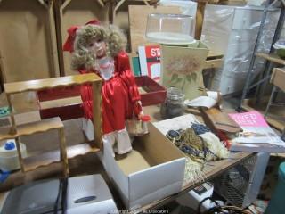 GE Digital Clock Radio/Wood shelf/Crown Royal Collectors doll,etc