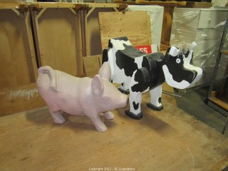 Cow is solid wood/pig is light weight
