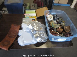 Various Items-leather belt/bakeware and kitchen items