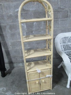 Rattan Curio Cabinet with shelves and doors Natural