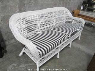 Rattan Sofa with cushions-white