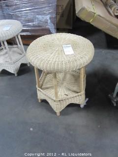 Rattan Round End Table White