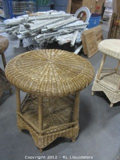 Rattan Round End Table Honey