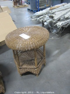 Rattan End Round Table Honey