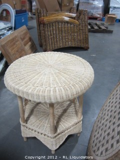Rattan End Table Round Natural