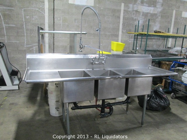 Stainless Steel 3 Compartment Sink With Drain Boards U0026 Spray Attachment