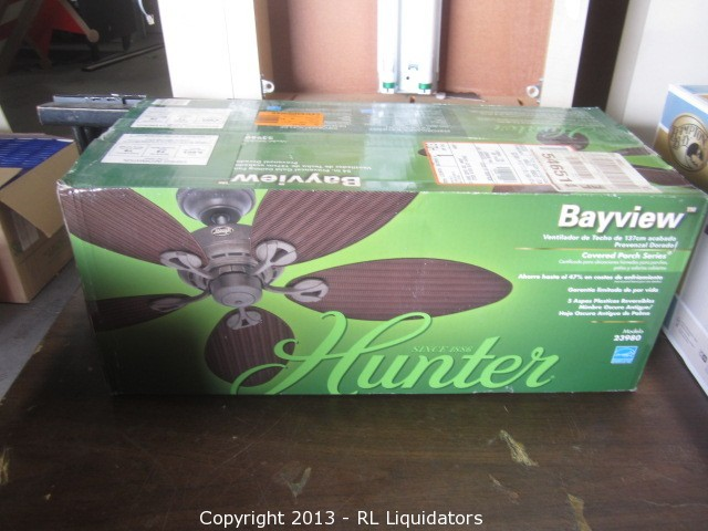 Bidrl online auction marketplace auction national big box hunter bayview covered porch series ceiling fan aloadofball Gallery