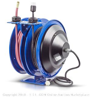 "Coxreels C-L350-5016-A Dual Purpose Electric/Air Spring Rewind Reels: 50' 3/8"" I.D. hose, 300 PSI, & Single Industrial Receptacle, 50' cord, 16 AWG (Retail $376.00)"