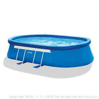 Intex 18ft X 10ft X 42in Oval Frame Pool Set Filter Pump, Ladder, Ground Cloth & Pool Cover (Retail $320.00)