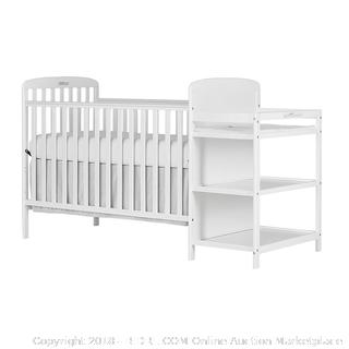 Dream On Me, 4 in 1 Full Size Crib and Changing Table Combo, White (Retail $117.00)
