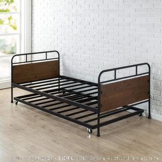 Zinus Santa Fe Twin Daybed and Trundle Frame Set/Premium Steel Slat Support/Daybed and Roll out Trundle/Accommodates Twin Size Mattresses Sold Separately (Retail $182.00)
