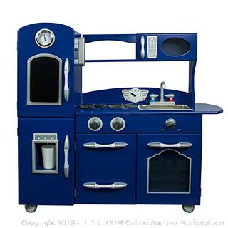 My Little Chef Teamson Kids Retro Play Kitchen (1 Piece) Toy, Navy Blue (Retail $162.00)
