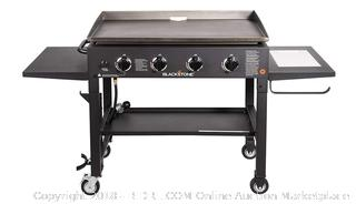 Blackstone 36 inch Outdoor Flat Top Gas Grill Griddle Station - 4-burner - Propane Fueled - Restaurant Grade - Professional Quality - With NEW Accessory Side Shelf and Rear Grease Management System (Retail $299.00)