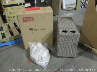 Outdoor Side Table with Cup Holder and Outdoor Cover