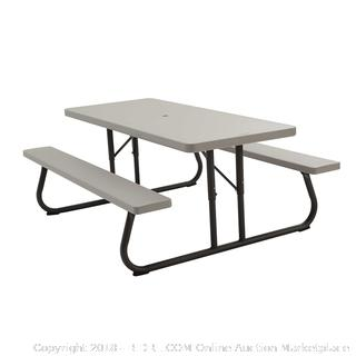 Lifetime 22119 Folding Picnic Table, 6 Feet, Putty (Retail $185.00)