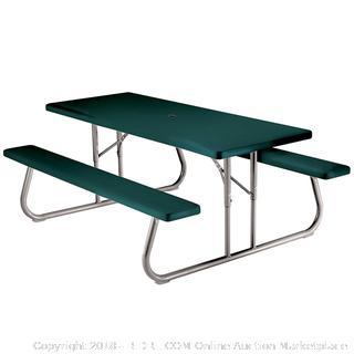 Lifetime 22123 Folding Picnic Table, 6 Feet, Hunter Green (Retail $244.00)