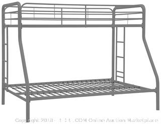 DHP Twin-Over-Full Bunk Bed with Metal Frame and Ladder, Space-Saving Design, Silver (Retail $139.00)
