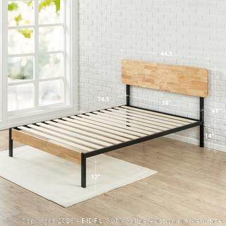 Zinus Tuscan Metal & Wood Platform Bed with Wood Slat Support, Twin (Retail $129.00)