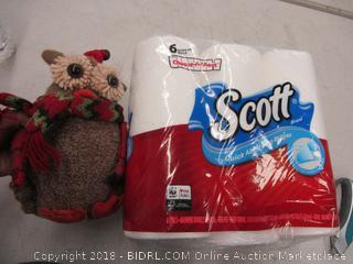 Scott paper towels and decorative owl