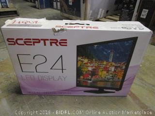 Sceptre E24 LED Display Built in DVD  Powers on, Cracked Screen