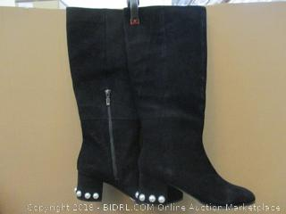 The Fix Julette Pearl Studded -Heel Knee Boots  Size 10 B In Box Black Suede