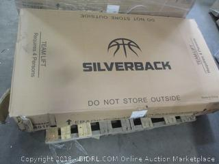 "Silverback 54"" In-Ground Height-Adjustable Basketball System with Tempered Glass Backboard, Anchor Mounting **PACKAGE DAMAGE ONLY**  (Retail $619.00)"