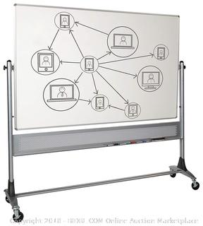 Best-Rite 669RG-HH Platinum Mobile Reversible Whiteboard Easel, 4 x 6 Feet Panel Size, Dura-Rite HPL Markerboard Surface (Retail $632.00)