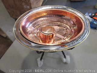 Oval Copper Chafing Dish w/Iron Stand