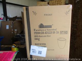 Furniture of America Black Round Stool