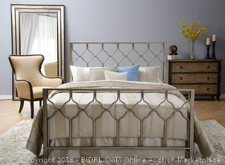 In Style Furnishings Classic Geometric Honeycomb Bed Set in Brushed Gold/Bronze in King Size (Includes Tools For Assembly)