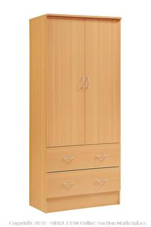 Hodedah Two Door Wardrobe, with Two Drawers, and Hanging Rod, Beech RETAIL $105.03