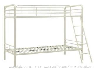 DHP Twin-Over-Twin Bunk Bed with Metal Frame and Ladder, Space-Saving Design, White RETAIL $143.03