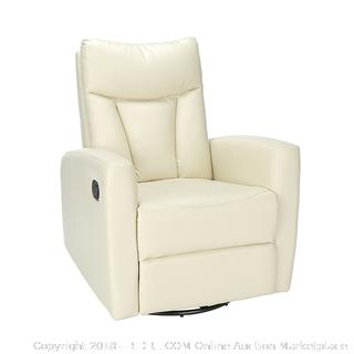 "Monarch Specialties I 8087IV Ivory Bonded Leather Swivel Glider Recliner, 30"" L x 30"" W x 41"" H RETAIL $205.75"