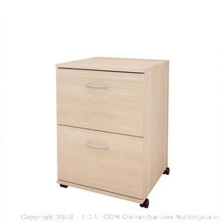 Essentials 2-Drawer Mobile Filing Cabinet 5093 from Nexera, Natural Maple RETAIL $117.59