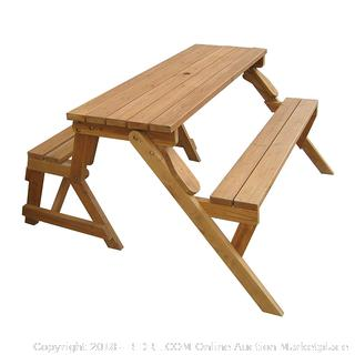 Merry Garden Interchangeable Picnic Table and Garden Bench RETAIL $121.71